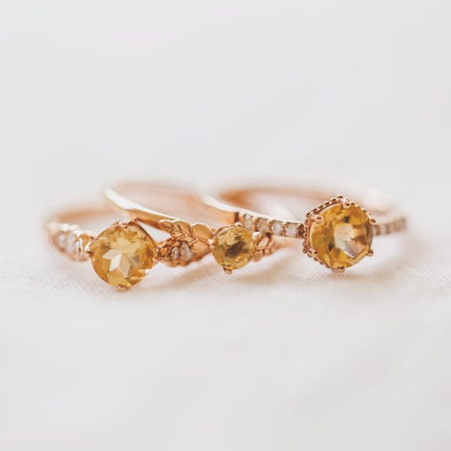 I love these sweet little rose gold and citrine ringshellip